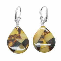Amber Mosaic and Silver Earring - Drop Shape