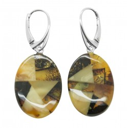 Amber mosaic earring - Oval shape