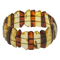 Bracelet en ambre naturel bi-colore cognac et miel