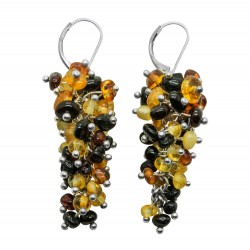 Multicolored amber earring