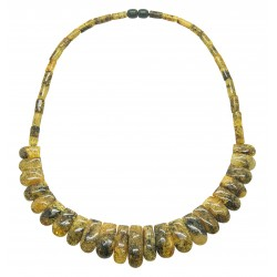 Yellow amber necklace shine and green