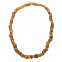 Amber necklace - polished and rough round stones
