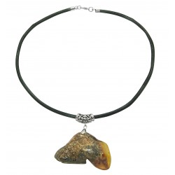 Necklace with raw amber pendant