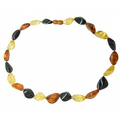 Amber necklace multicolored cut olive shape