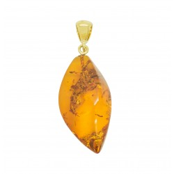 Gold plated cognac amber pendant