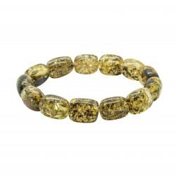 Bracelet d'ambre adulte vert, perle cylindrique