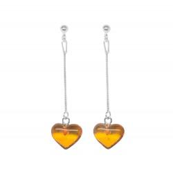 Boucle d'oreille argent avec coeur en ambre cognac