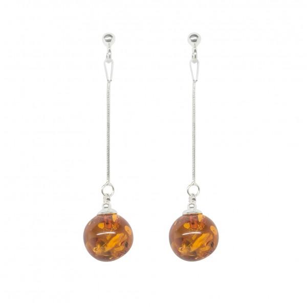 Boucles d'oreilles en Argent avec perle d'ambre suspendu
