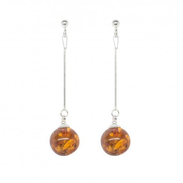 Silver earrings with suspended amber pearl