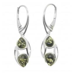 Pendiente de plata 925/1000 y de la perla natural de ámbar coñac