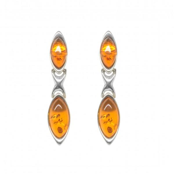 Boucle d'oreille en Ambre couleur cognac et Argent 925/1000