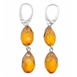 Natural carved amber earring