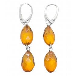 Orecchini ambra naturale intagliata