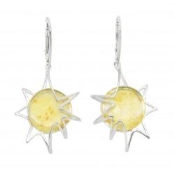 Boucle d'oreille argent et ambre citron en forme de soleil