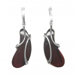 Silver and cherry amber earring