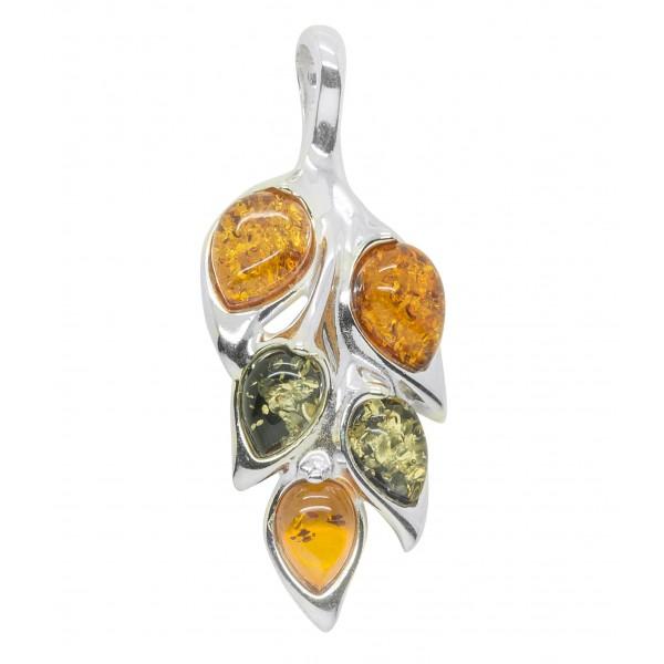 Pendentif Argent en forme de feuille avec perle d'ambre vert et cognac