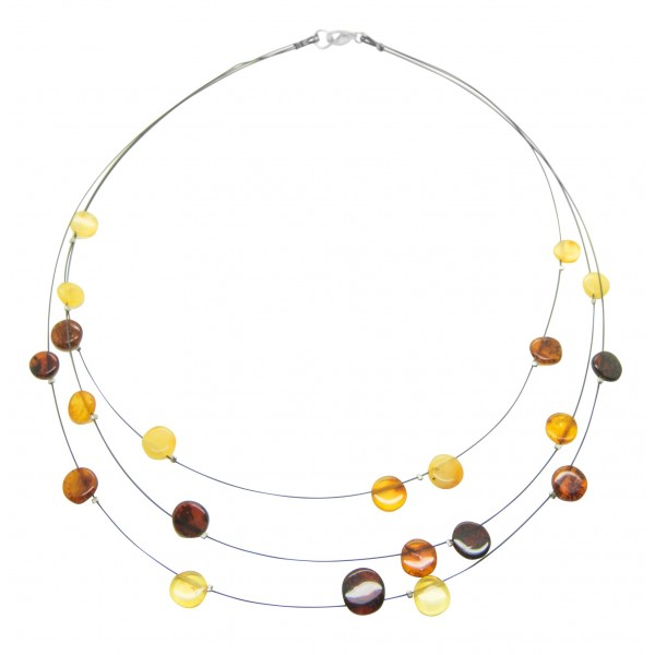 Collier d'ambre multicolore, fil d'acier noire