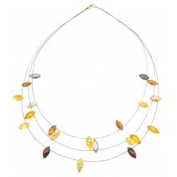 Bernstein erwachsene Halskette mit bunten Perlen auf schwarzem Stahlseil