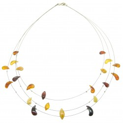Adult amber necklace with multicolored amber pearl on steel cable
