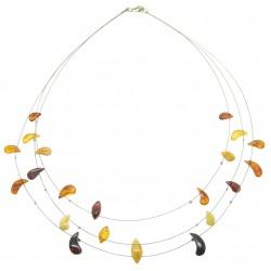 collana adulti ambra multicolore ambra tallone su cavo d'acciaio