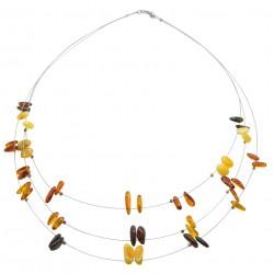 ambra collana multicolore sul cavo d'acciaio