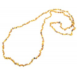 Very long multi-color amber necklace