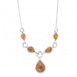Cognac Bernstein und Silber Halskette