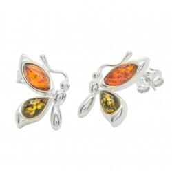 Butterfly earrings in silver and two-tone amber