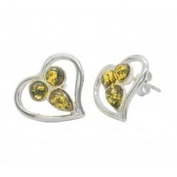 Ohrring Herz von grünen und natürlichen Bernstein Silber 925/1000