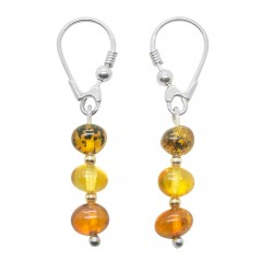 Earrings 925/1000 Silver and Trio of amber pearls