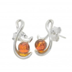 Amber cognac and silver 925/1000 earring
