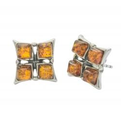 Orecchini ambra e argento cognac 925/1000
