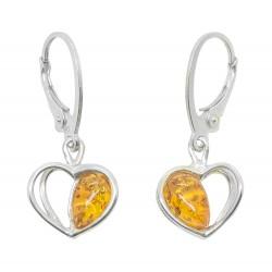 Boucle d'oreille Argent 925/1000 et demi coeur d'ambre cognac
