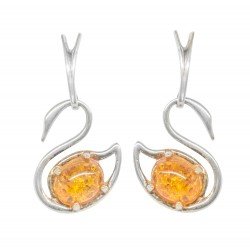 Amber cognac and silver earrings 925/1000 silver swan