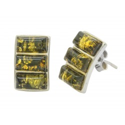 Green Amber and Silver 925/1000 earring
