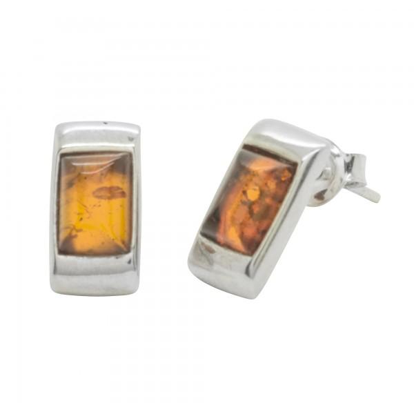 Boucle d'oreille rectangulaire Argent et ambre cognac