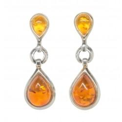 Ohrring-Silber und Perlen 925/1000 natürliche Bernstein