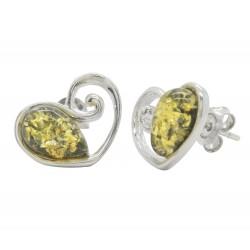 Pendientes de plata y ámbar en forma de corazón verde