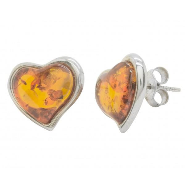 Boucle d'oreille argent et ambre cognac en forme de coeur