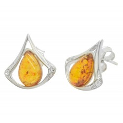 Earrings Amber cognac and Silver 925/1000