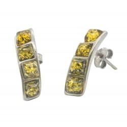 Ohrring Grün Gelb und Silber 925/1000 Verdreht