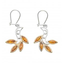 Earring Amber cognac and Silver 925/1000, Egyptian style