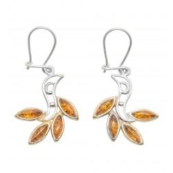 Ohrringe Bernstein und Silber 925/1000 Cognac, ägyptischer Stil