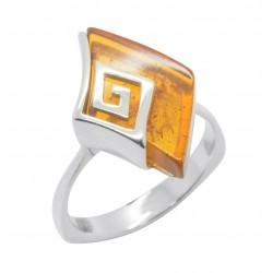 Bernstein-Ring Honig und Silber 925/1000 Stil griechisch / römische