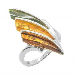 Multicolour amber ring with 925/1000 silver