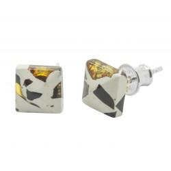 Quadrat-Ohrring-Mosaik-Bernstein und Silber 925/1000