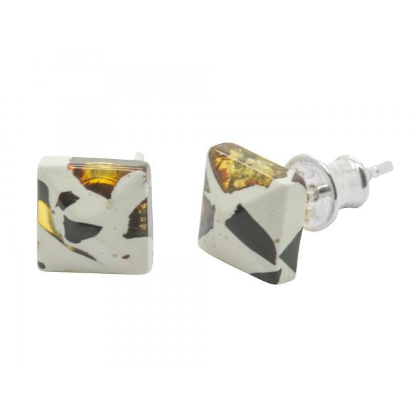 Boucle d'oreille carré en ambre mosaïque et Argent 925/1000