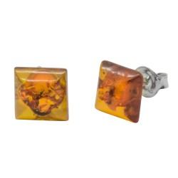 quadratischen Ohrring Cognac Bernstein Silber 925/1000