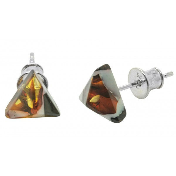 Boucle d'oreille ambre cognac forme triangle