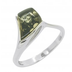 Amber ring green color and Silver triangle shape